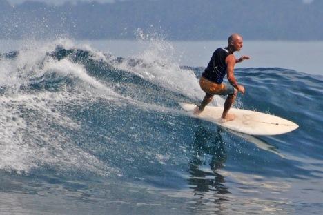 Surfing at tanjung Setia